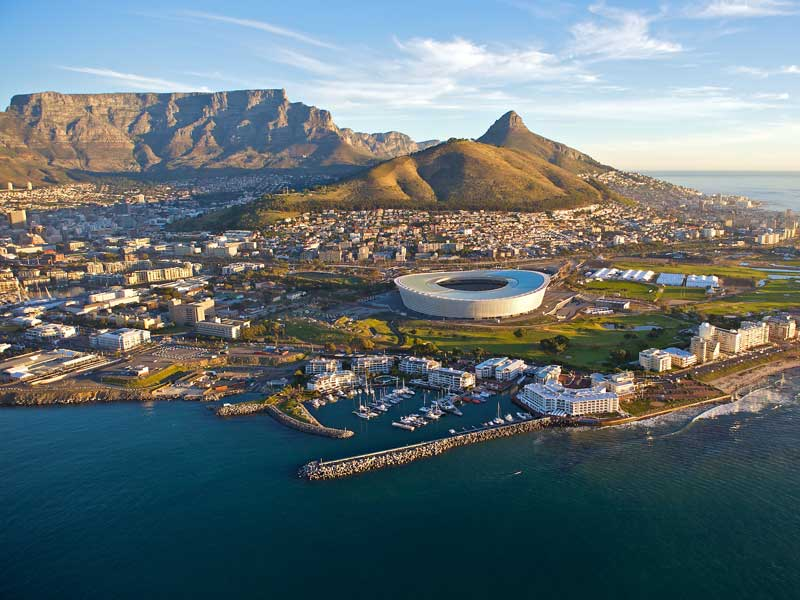 Cape Town stadium, Table mountain, Lion's Head and cityscape